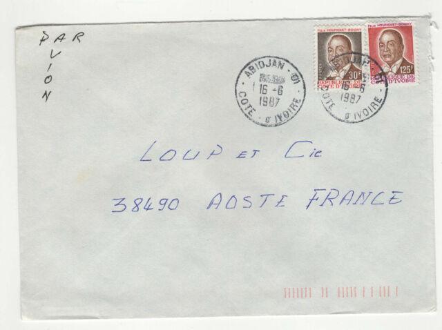 2 timbre sur lettre 1987 tampon Côte-d'Ivoire Abidjan  /L236
