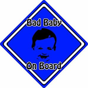 Bad-Baby-Child-On-Board-Car-Sign-Baby-Face-Silhouette-Neon-Dark-Blue