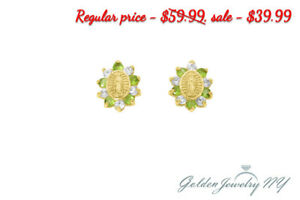 0e1f1ea643f72 Details about 14K Yellow Gold Green & Clear CZ Our Lady of Guadalupe Child  Screwback Earrings