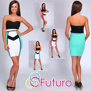 Party Bandeau Strapless Bodycon Mini Dress Clubwear Tunic Sizes 8-14 FC1485
