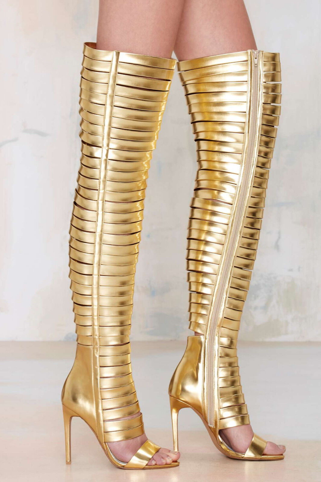 NEW JEFFREY CAMPBELL 250 GOLD BLINDED THIGH HIGH BOOTS HEELS Schuhe SZ 5.5