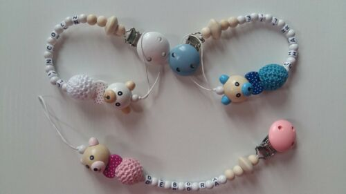 Personalised dummy clip* Chain with teddy bear* For boys and girls MAM adapter