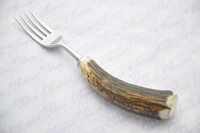 Fantastico Genuine Addio Al Celibato/antler Handle Dessert Fork Made In Sheffield Inghilterra-mostra Il Titolo Originale