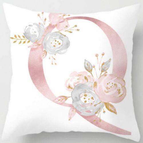 45x45cm Kissenbezug Kissenhülle Blumen Bezug Buchstabenmuster Dekokissen Rosa