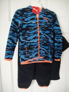 d7a894bf8b2c PUMA NWT Boy 3PC Set Tee Top Shirt Pants Fleece Hoodie Jacket Zip ...