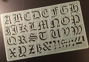 Image Is Loading 30 Mm OLD ENGLISH STYLE ALPHABET SYMBOLS STENCIL