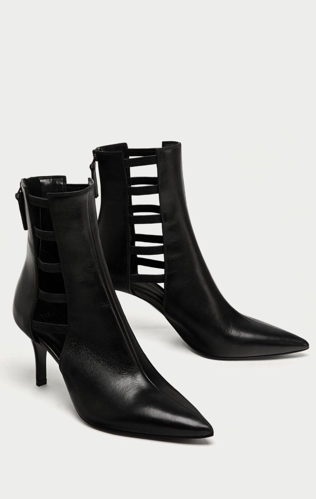Zara taglia Nero Vera pelle stivaletti 38 tacco medio, taglia Zara EUR 38   ae5be5