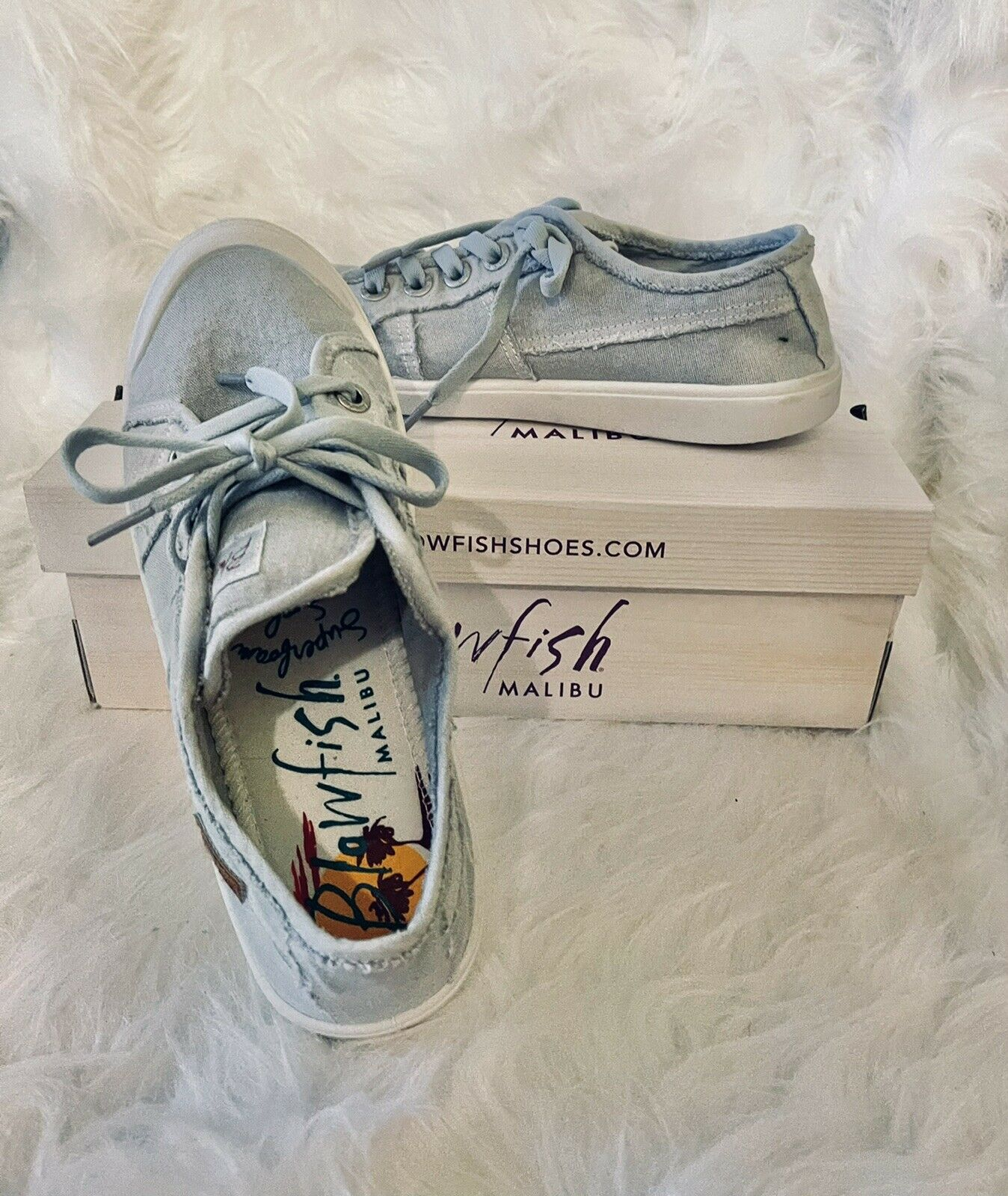 Blowfish Malibu shoes Size 8 Womens Gray washed canvas Style Vesper New Cute
