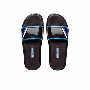 796b6488b9e704 PRADA Sport Slide Sandal Slipper Rubber 1XX344 Black Light Blue Size ...
