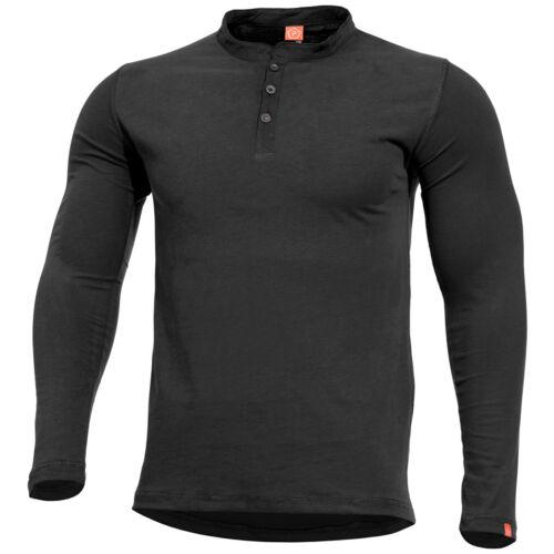 Pentagon Romeo Henley Shirt Police Security Tactical Sport Mens Cotton Top Black