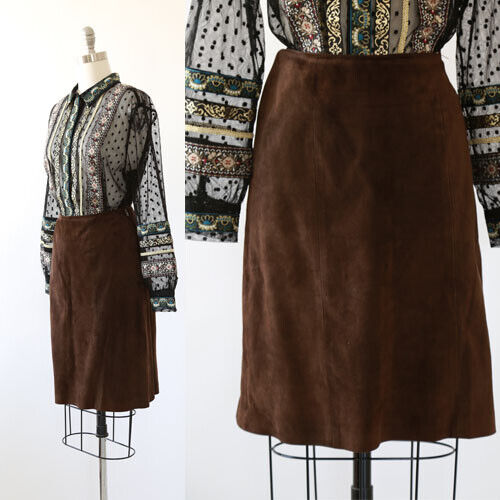 Vintage 60s brown suede leather mini skirt S