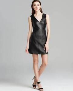Diane Von Furstenberg Black Leather Halle S L Dress 985