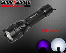 2 in 1 CREE Q5 White light UV blacklight 800Lumen 2 Mode 18650/CR123A flashlight
