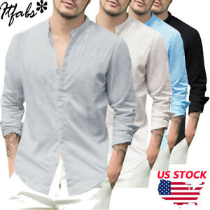 51f179f6d6bd2a Casual Men Basic Long Sleeve Shirts Cotton Linen V-neck Tops Shirts ...