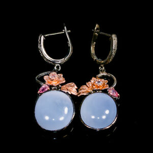Handmade25ct-Natural-Chalcedony-925-Sterling-Silver-Earrings-E36039
