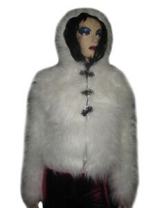 court Rave blanc Manteau en moelleux à fourrure fluo capuchon fluorescent blanc synthétique vnmN08w