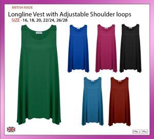 New-Ladies-Women-Sleeveless-Longline-Vest-Top-with-Shoulder-Loops-PlusSize-16-28