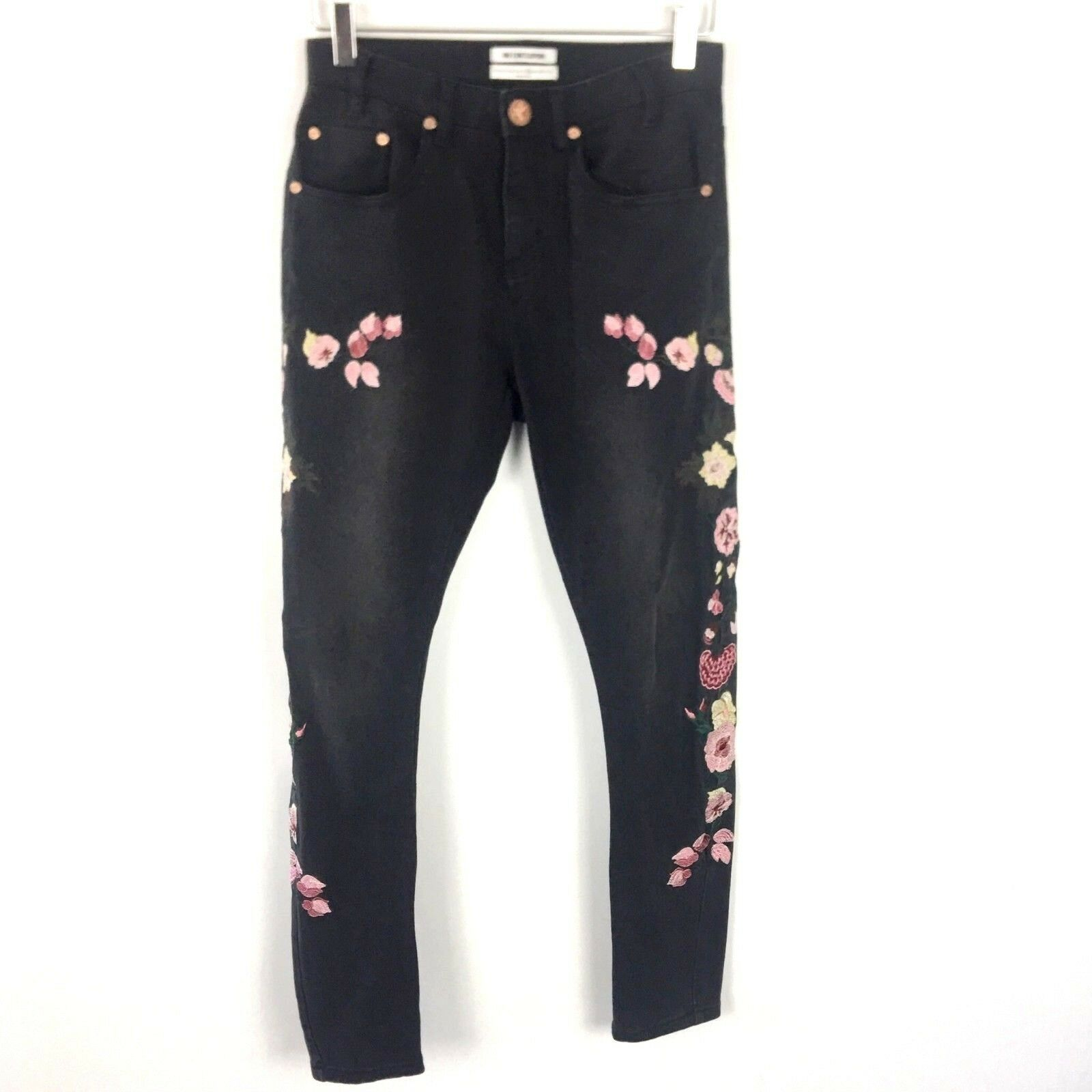 One Teaspoon   Women's Size 28 Jeans Birds of Paradise Embroidered Floral Skinny