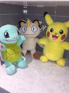 Build-a-Bear-Pokemon-Plush-Set-Pikachu-Squirtle-Meowth-Tags-on-No-Sound