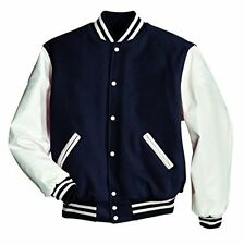 Original US Windhound College Jacke navy blau mit weißen Echtleder Ärmel XL