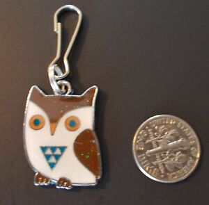 New-Cute-Owl-Enamel-Charm-Zipper-Pull-Clip-Birds-Multi-Color-Silver-Plated-Alloy