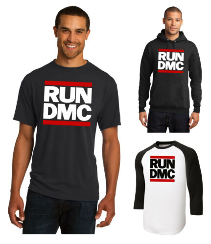 New RUN DMC T-Shirt 3//4 Sleeve or Hoodie JMJ Retro Rap Hip Hop Tee Black White