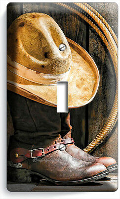 COWBOY BOOTS HAT LASSO RUSTIC COUNTRY 4 GANG GFCI LIGHT SWITCH PLATES ROOM DECOR