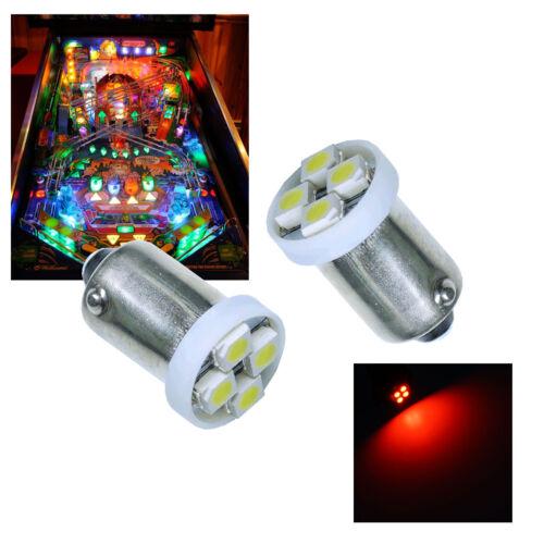 10x #1893 #44 #47 #1847 BA9S 4SMD LED Pinball Machine Light Bulb Red 6.3VP3