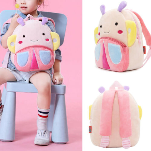 2019 Lovely Cartoon Butterfly Shaped Kid/'s Backpack Plushed Soft Travel Rucksack