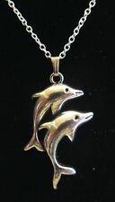 """NEW 18""""  925 Sterling Silver Pair of Dolphins Pendant Necklace Nice!!"""