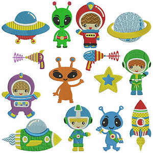 Outer space machine embroidery patterns 14 designs ebay for Space embroidery designs