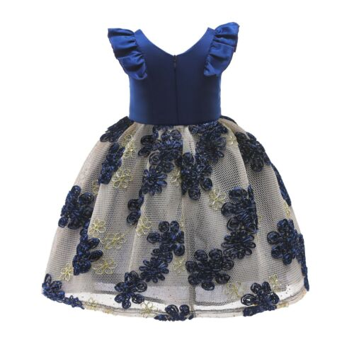 Children Girls Flutter-sleeve Flower Embroidered Party Birthday Dress ZG9