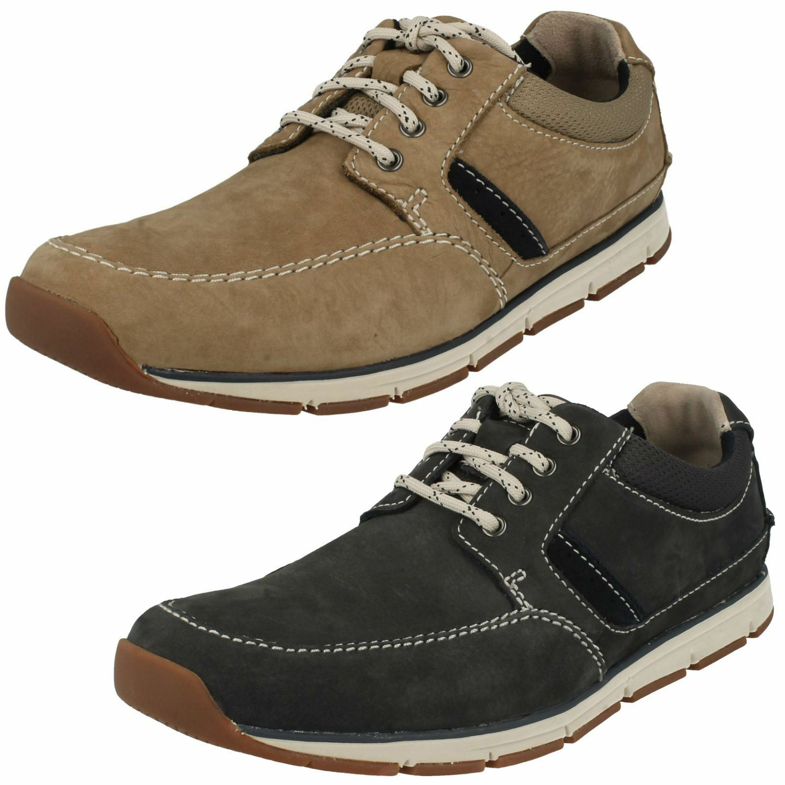 Mens Clarks Beachmont Edge Taupe Or Navy Nubuck Leather Casual Lace Up Shoes