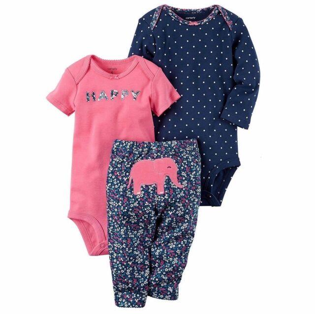 181c89256 CARTER'S BABY GIRL 3PC HAPPY ELEPHANT BODYSUITS LEGGING SET NB 3M 6M 12M 24M