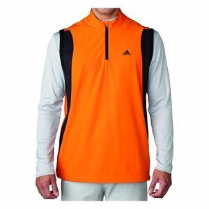 Adidas-Golf-Performance-Stretch-1-2-Zip-Wind-Vest-Unity-Orange-Pick-a-Size