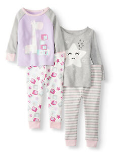 31cbe71c3 Wonder Nation Baby Girls Cotton Tight Fit Pajamas 4-Piece Set Size ...
