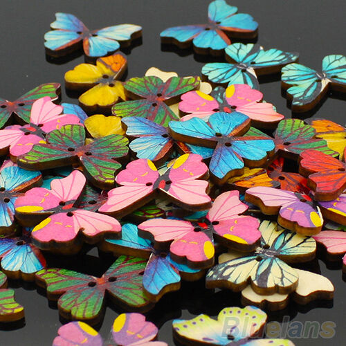 50X Practical 2 Holes Butterfly Wood Sewing Scrapbooking Buttons Jewelry Finding