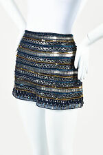 Parker Blue & Gold Tone Silk Bead & Sequin Embellished Micro Mini Skirt SZ M