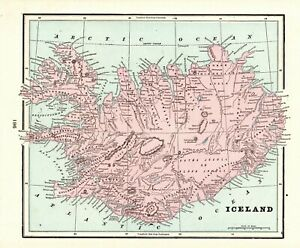 1901-Antique-ICELAND-Map-Vintage-Map-of-Iceland-Home-Decor-Gallery-Wall-Art-7650