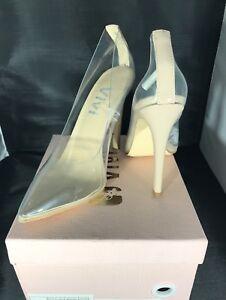 Dress Shoes Tacones On Heel Fashion 689721651816 Pumps Vivi para Slip Puntas Clear Nude High 6aPqn