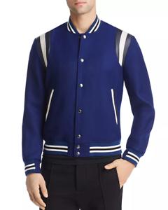 1650-Paul-Smith-Men-039-S-Blue-Stripe-Trim-Button-Front-Varsity-Jacket-Coat-Size-S