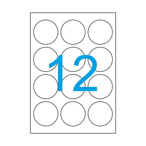 480 Etiketten 60mm Rund 40 Blatt A4 runde Aufkleber Weiß Durchmesser 60 mm 60x60
