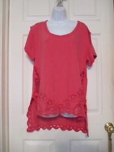 Free-People-Crochet-Pink-Tunic-Shirt-Size-S-Anthropologie-Oversized