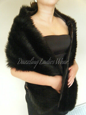 Black Faux Fur Shawl/Wrap/Stole/Bolero/Wrap/Shrug Satin Lined NewTags Formal