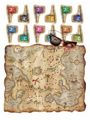 PIN THE FLAG ON THE TREASURE MAP PIRATE PARTY GAME DECORATION UP TO 12 PLAYERS