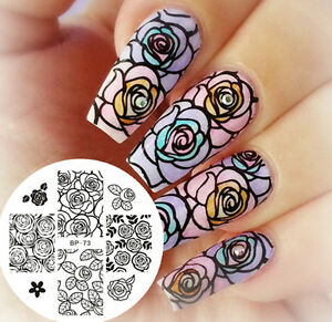 Born Pretty Nail Art Stamping Plate Rose Flower Image Stamp Nails