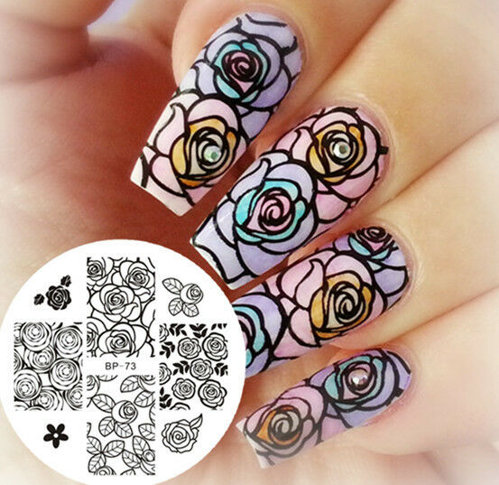 Nail Art Stamping Image Plate Rose Flower Image Stamp Template Bp73