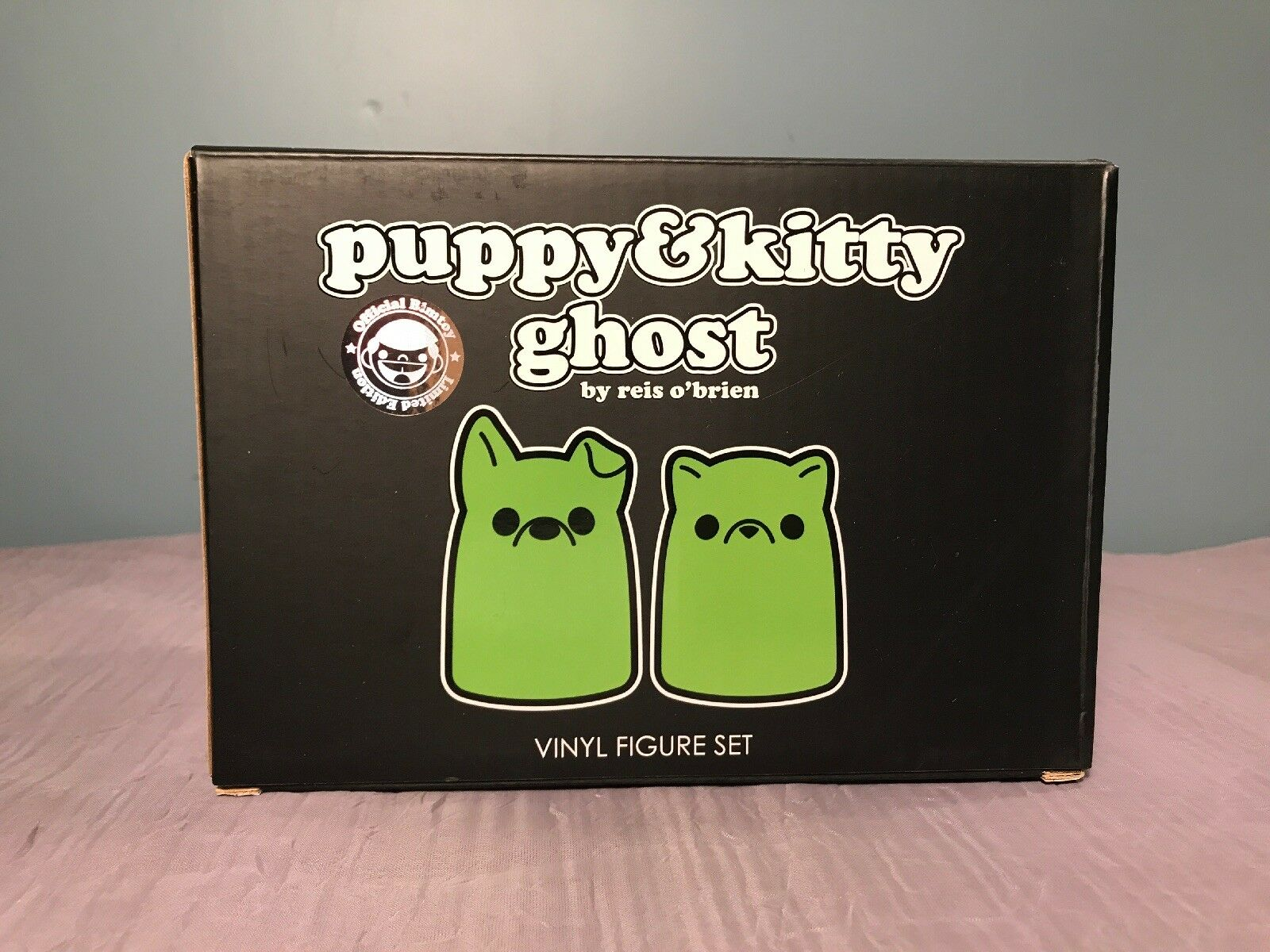 TINY GHOST PUPPY & KITTY GHOST Green Glow Bimtoy Reis O'Brien Limited Edition
