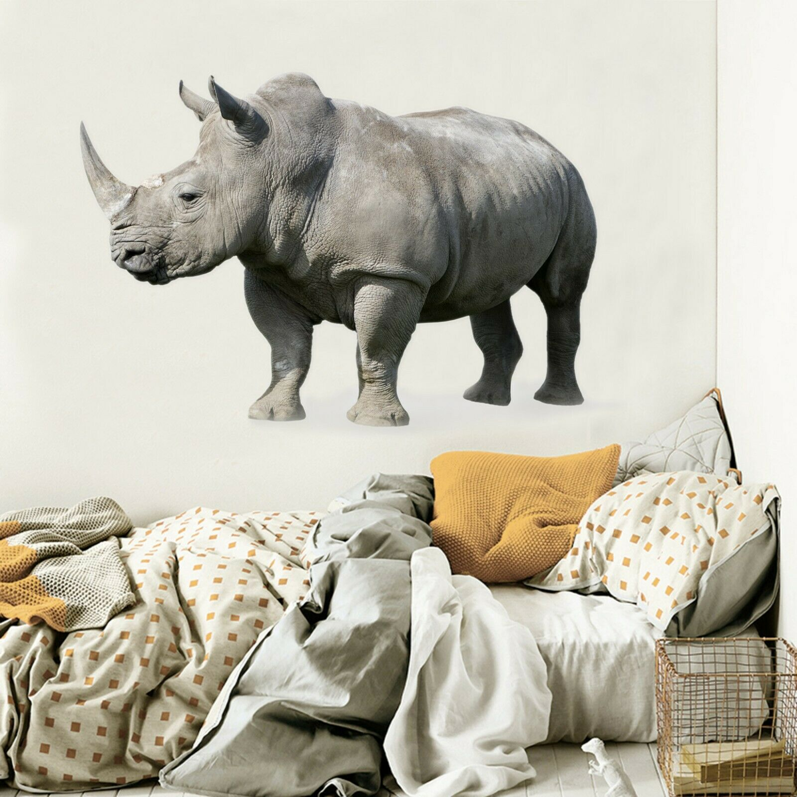 3D Rhinoceros O84 Animal Wallpaper Mural Poster Wall Stickers Decal Ella