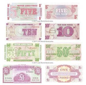 British Armed Forces 5p + 10p + 50p + £1 Set of 4 Banknotes 4 PCS UNC